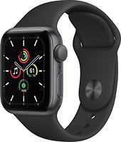Фото Apple Watch SE GPS 44mm Space Gray Aluminum Case with Black Sport Band (MYDT2)