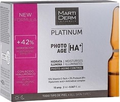 Фото MartiDerm концентрат для лица, шеи и зоны декольте Platinum Photo Age HA+ 10 x 2 мл