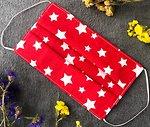 Фото Маска медицинская хлопковая многоразовая с полиуретаном PPF красная Звезды 1 шт