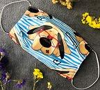Фото Маска медицинская хлопковая многоразовая с полиуретаном PPF разноцветная Собака 1 шт