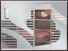 Фото Домовой Шкаф-купе четырехдверный Стандарт Пескоструй+Пескоструй+Пескоструй+Пескоструй 400x45x240
