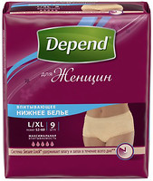 Фото Depend Трусики-подгузники для женщин L-XL (97-127 см) 9 шт
