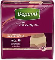 Фото Depend Подгузники-трусы для женщин M-L (69-102 см) 10 шт