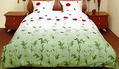 Фото ТЕП 533 Маки зеленые с бабочками полуторный