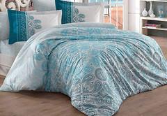 Фото Hobby Poplin Irene бирюзовый двуспальный Евро
