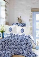 Фото Karaca Home Matteo indigo двуспальный Евро с покрывалом
