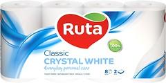 Фото Ruta Туалетная бумага Classic Crystal White 2-слойная 8 шт