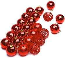 Фото ColorWay набор шаров Merry Christmas mix Red 6 см, 24 шт. (CW-MCB624RED)