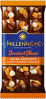 Фото Millennium молочный Fruits & Nuts с миндалем, цельными лесными орехами, курагой и изюмом 80 г