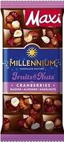 Фото Millennium молочный Fruits & Nuts с миндалем, цельными лесными орехами, клюквой и изюмом 140 г