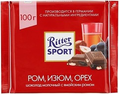 Фото Ritter Sport молочный Rum Trauben Nuss 100 г