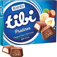 Фото Roshen Шоколадные конфеты Tibi Pralines Chopped nuts & Nut cream/Milk cream 117 г